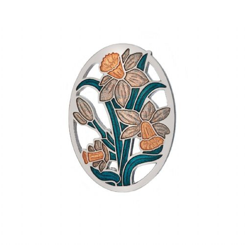 Daffodil Brooch Honey Silver Plated Brand New Gift Packaging